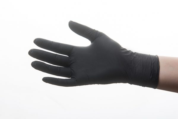 Black nitrile gloves hand